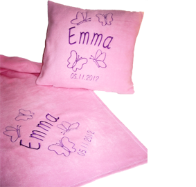 SET-bestickte Decke und Kissen Schmetterlinge